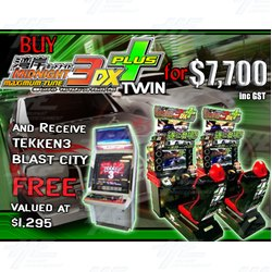 Buy Wangan Midnight Maximum Tune 3DX Plus Twin Machine and Receive Free Tekken 3 In Blast City Machine!!