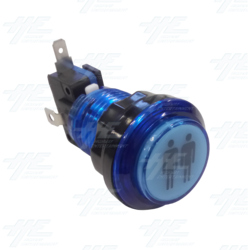 Player 2 (P2) Push Button for Arcade Machines - Blue Illuminated